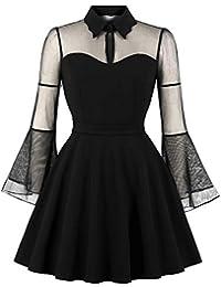 Lover-Beauty Damen Kleid Knielang Elegant Vintage Cocktailkleid Partykleid Retro Dress Festlich Halloween