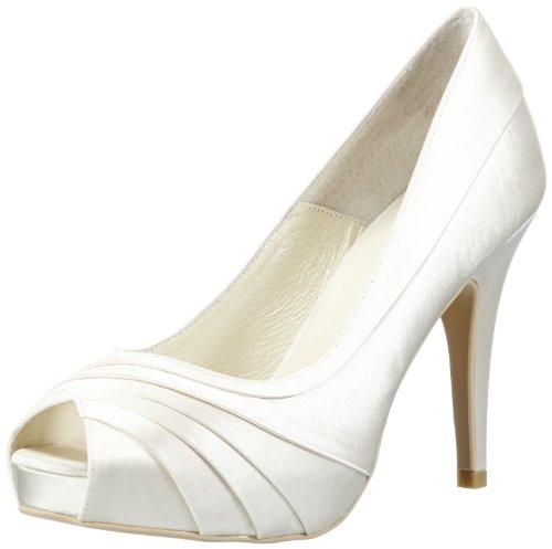 Menbur Wedding May, Damen Peep-Toe Pumps, Elfenbein (Ivory)