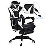 ELECWISH Ergonomic High-Back Gaming Chair with Massage Function Office Desk Chair Swivel Black