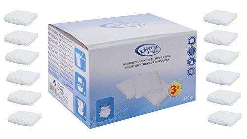 12 x 400 Gramm (4E) Luftentfeuchter Nachfüllpack Vliesbeutel XXL Box Granulate Nachfüllen Raumentfeuchter + gratis Microfasertuch -VANI- 30 x 30 cm -