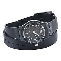 Souarts Silicone Multilayer Bracelet Analog Quartz Wristwatch Watch Black