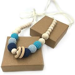 Idea Regalo - Coskiss Blu Crochet borda la collana dentizione Massaggiagengive collana sicuro con organico di legno naturale giocattolo mamma bambini collana legno Teether (Blu)