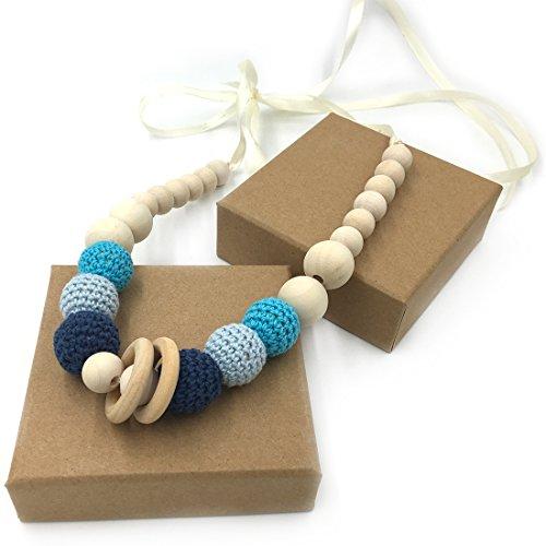 Coskiss Bleu Crochet Perles Baby Teether Collier Perles Collier Dentition Coffre-fort avec des jouets en bois naturel organique Maman Enfants Collier en dentition en bois (Bleu)