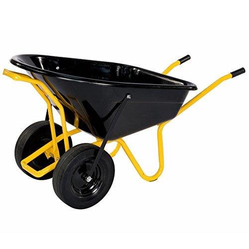floristikvergleich.de pro-bau-tec Doppelrad Schubkarre Twin mit PU Rädern, 160 L, 40100