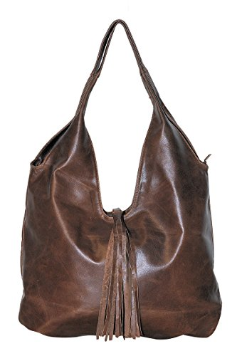 BORDERLINE - 100% Made in Italy - Borsa Sacca da Donna in Vera Pelle - SERENA (Marrone)