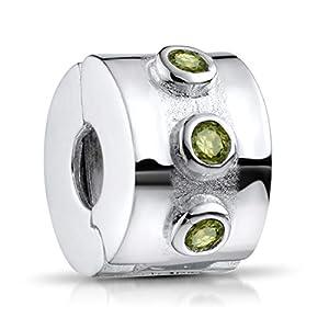 MATERIA 925 Silber Beads Stopper Clip – Zirkonia Anhänger grün für Beads Armband mit Gewinde #871