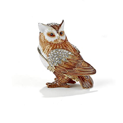 Home and Holiday Shops Brown Owl Bejeweled Enamel Jewelry Trinket Keepsake Box Container Bird New -