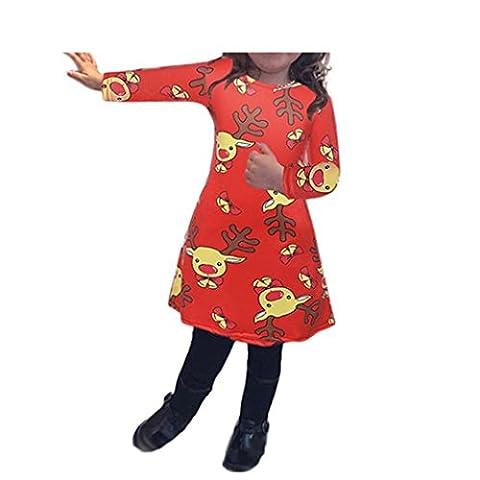 Bekleidung Longra Kinder Mädchen Baby Xmas Weihnachten Langarm drucken Swing Kleid Weihnachten Röcke Kleider(4-8 Jahre) (90CM 4Jahre, Red)