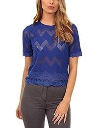 c4e48d22526 Cutie London Women s Zigzag Lace Top-Blue
