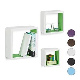 Relaxdays 10021792 Set 3 Mensole da Parete Cube per Il Soggiorno, Forma Quadrata, Decorative, Vari Colori