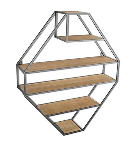 Étagère murale en bois en fer en métal étagère suspendue étagères flottantes étagères en forme de cube comme étagère de rangement étagère Vintage Décorations Design (noir, 5 niveaux)