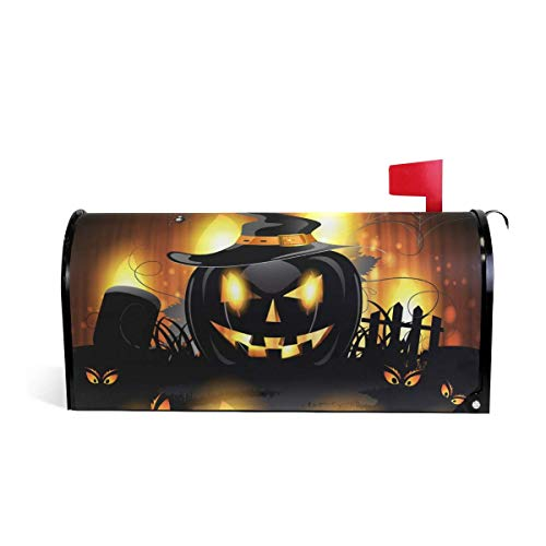 prz0vprz0v Halloween Pumpkin Magnetic Mailbox Cover Standard Size 21 x 18 Inches Waterproof Canvas Mailbox Cover