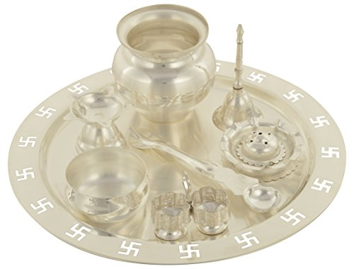 Arya Silver Plated Puja Thali Set (23 cm x 23 cm x 6, Silver, Set of 8)  available at amazon for Rs.749