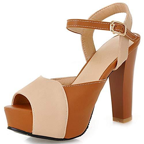 DoraTasia Frauen Chunky Heel Sandalen Plattform Open Toe Knöchel Schnalle Sandale Party Kleid Heels Open-back Ankle Boots