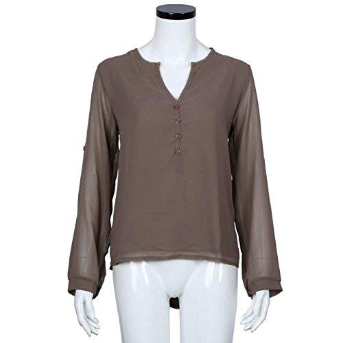 Mousseline Tops,OverDose Womens Lâche à Manches Longues Blouse Casual Shirt Mode Blouse Café