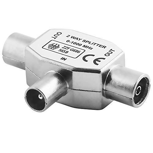 BestPlug TV Radio T Antennen-Adapter Verteiler Splitter Weiche / 1 Koax Stecker männlich auf 2 Koax Buchse Kupplung weiblich / geeignet für 3D SD HD FullHD UHD 4K / Metallausführung Digital-tv-splitter