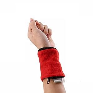 Furnido 1paio in pile con cerniera braccialetto fascia tergisudore sport cinturino in pelle chiave soldi della moneta tasca portaoggetti per corsa, ciclismo e altri sport, red