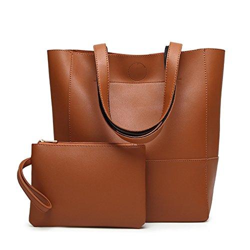 Beylasita Damen Tasche Set 2 teilig PU Leder Tote Shopper Schultertasche mit Handgelenktasche 8 Farben (Braun) (Tote Zwei Tasche Leder)