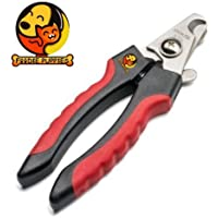 Foodie Puppies Stainless Steel Dog/Cat Toe Nail Clipper Scissor Trimmer & Cutter Grooming Tool + Free Filer - Red