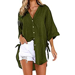 Blusas para Mujer, Camiseta Casual Tops Camisetas Blusa Vestido Camisero Largo con Botones Sueltos para Mujer Blusa Mujer Elegante Tallas Grandes S - XXXL