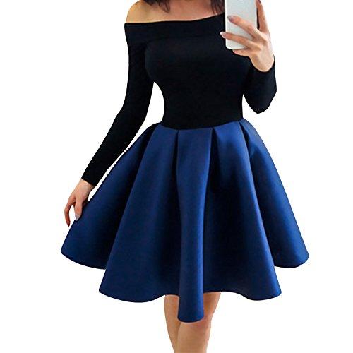 Preisvergleich Produktbild Petalum Damen Kleid Frühling Falten Mini Elegant Abendkleid Einfarbig Cocktailklei Ballonrock Unterrock Frau Tütü Tellerrock Partykleid