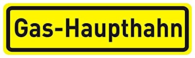 "Aufkleber ""Gas-Haupthahn"", 20x6cm, Art. hin_041, Hinweis-Aufkleber, Hinweis auf Gas-Haupthahn, außenklebend für Fensterscheiben, Türen"