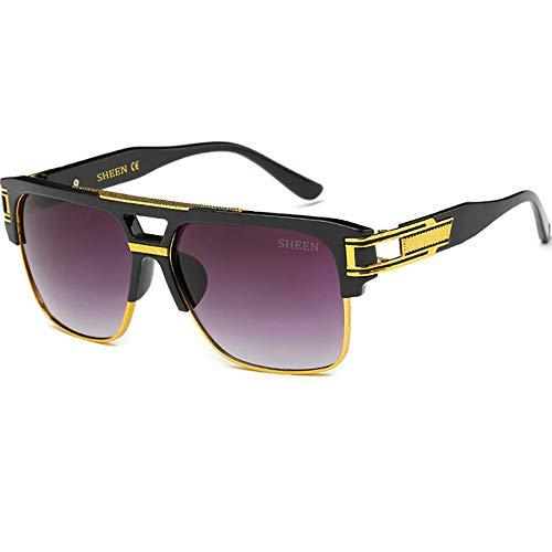 SHEEN KELLY Große Retro Oversized Sonnenbrille Metall Rahmen Square Spiegel herren Luxus Eyewear hälfte frame piloten Gold UV400