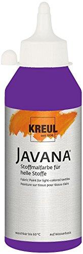 Kreul 91306 Javana Stoffmalfarbe für helle Stoffe, geschmeidige Farbe auf Wasserbasis mit cremigem Charakter, 250 ml Flasche, violett