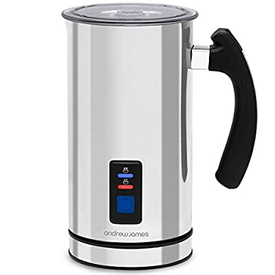 Andrew James Electric Milk Frother and Warmer, For Hot and Cold Milk, Silent Operation, Non Stick Coating, Includes 2 Whisk Attachments for Latte and Cappuccino