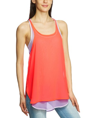 Freesoul Damen Top P71282 Hemdbluse, Asymmetrisch Regular Fit Orange (ORANGE FLUO)