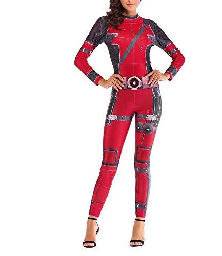 POIUYT Frauen Halloween Sexy Digital Print Overall Cosplay Enges Kleid Rollenspiele Erwachsene Kostüm Ball Kostüm Geburtstagsfeier Party (Erwachsene M),Red-XL