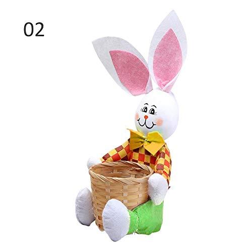Osterkörbchen mit Ostereikorb Kreative Süße Hase Mit Korb Ostern Hase Korb Ostern Geschenk Süßigkeiten Ei Ablagekorb Kinder Hase Tasche (Ostern Ei Korb)
