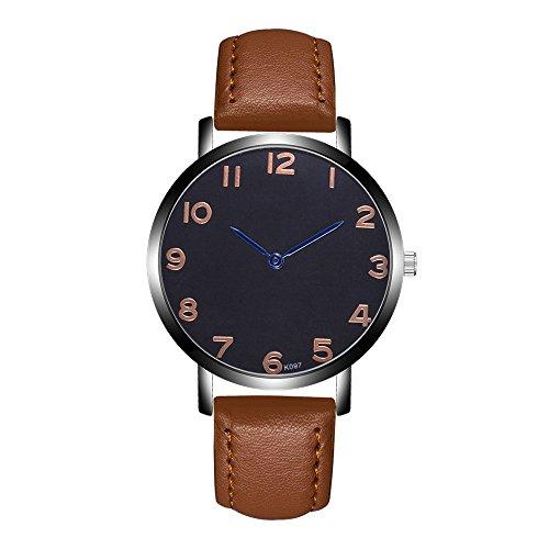 Jiameng orologio da polso, moda elegante orologio classico orologi analogici del quarzo della lega analogica della banda di cuoio di modo nuovi orologio da cintura k097-4 (marrone)