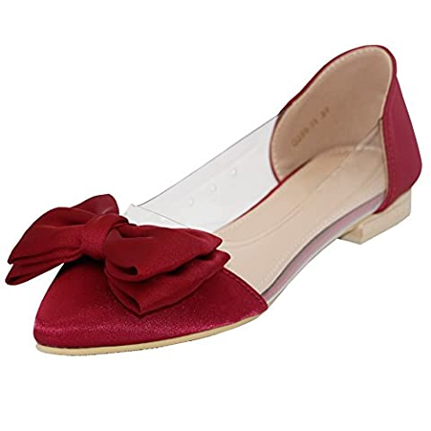 AalarDom Women's Pointed-Toe Pull-On Imitated Suede Low-Heels Pumps-Shoes with Bowknot,