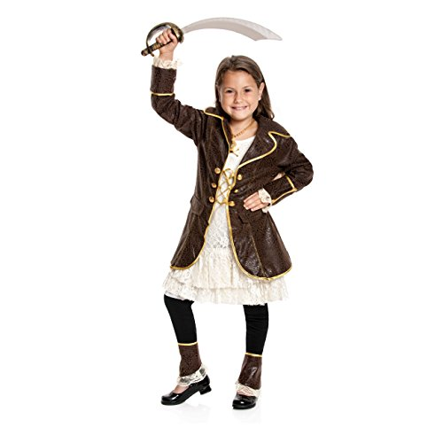Kostümplanet® Piratin-Kostüm Kinder Piraten-Kostüm Mädchen Faschingskostüm Größe - Mädchen Kostüm Stiefel