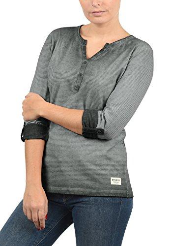 DESIRES Karina Damen Longsleeve Langarmshirt mit Rundhals-Ausschnitt und Knopfleiste aus 100% Baumwolle Dark Grey (2890)
