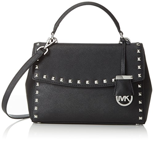 Michael Kors Damen Ava Small Studded Tophandle Henkeltasche, Schwarz (Black), One Size (Tote Studded Leder)