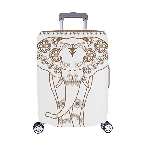 (Nur abdecken) Elefant Vektor Grenze braun Elemente ethnische Muster Staubschutz Trolley Protector case Reisegepäck Beschützer Koffer Cover 28,5 X 20,5 Zoll - Indien-elemente