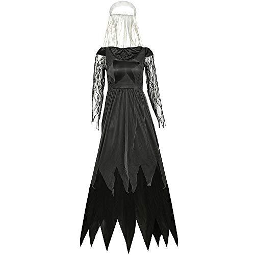 Teufel Halloween Kostüm Weiblichen - PU-FESTIVAL Damen-Rollenspiel-Uniform-Halloween-sexy weibliches Teufel-Abnutzungs-Brautkostüm Outfit Kostüm Kleid (Farbe : Schwarz, Größe : S)