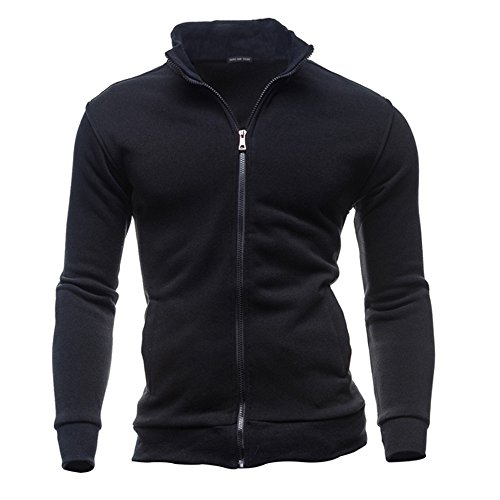 IMJONO Jacket,2019 Neujahrs Karnevalsaktion Herrenkleidung Men es Autumn Winter Leisure Sports Cardigan Zipper Sweatshirts Tops Jacket Coat(X-Large,Schwarz) -