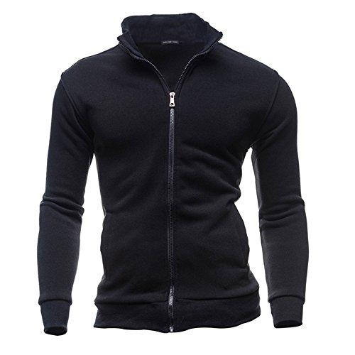 VECDY Herren Bluse,Räumungsverkauf- Herren Herbst Winter Freizeit Sport Cardigan Zipper Sweatshirts Tops Jacke Coat Lässiges Oberteille(Schwarz,48)