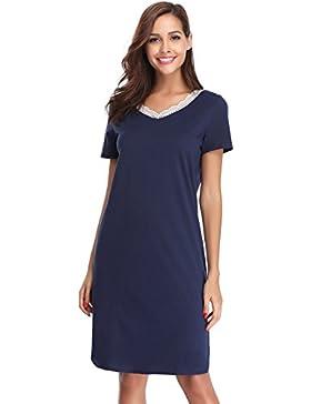 Sponsorizzato Hawiton Donna Pigiama Vestito Camicia da Notte Scollo V con  Pizzo Maniche Corte c9ecf0db52b