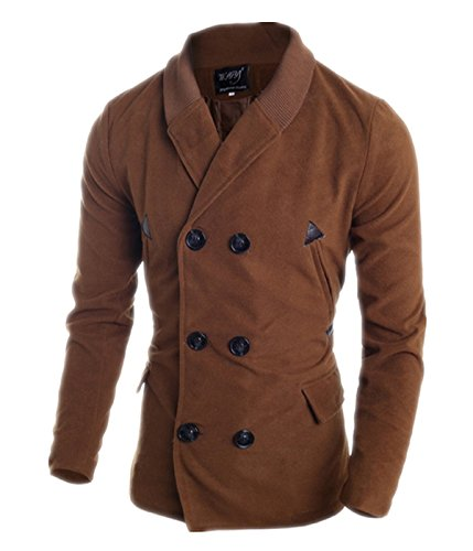 Fanessy Herren Coat Zweireiher & Slim Fit Winter-Mantel Braun