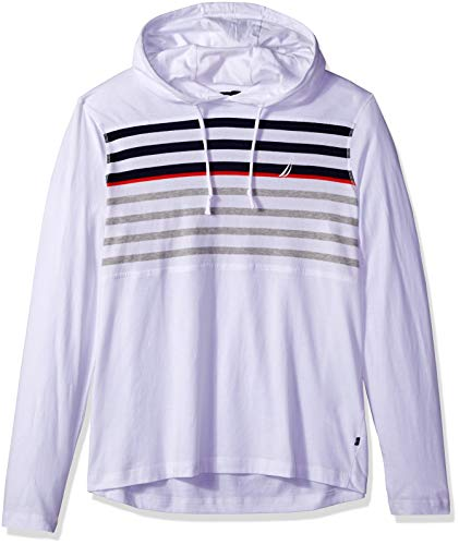 Nautica Herren Long Sleeve Striped Jersey Hoodie T-Shirt, Bright White, XX-Large - Nautica White Shirt