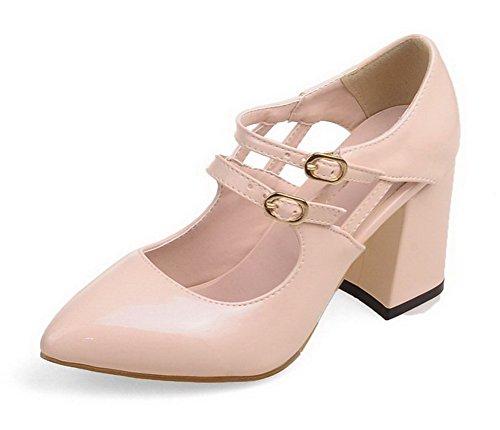 AllhqFashion Femme à Talon Haut Verni Couleur Unie Boucle Pointu Chaussures Légeres Rose