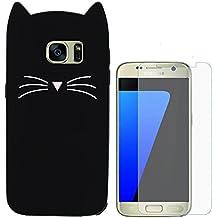 Hcheg Case Cover 3D en silicone pour Samsung Galaxy S7 edge Cat Design noir Case Cover + 1X Protecteur d'écran