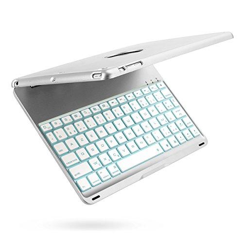 iPad Air Clavier, iEGrow F8S Bluetooth Clavier Étui Cover avec 7 Couleurs LED Rétroéclairé, Sommeil automatique/Réveil pour iPad 5 [AZERTY français] Argenté