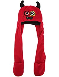 Childrens/Kids Character Design Winter Fleece Hat With Attached Scarf