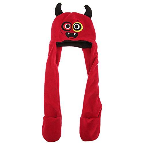 Kinder Charakter Mütze mit integriertem Schal (One Size) (Teufel)