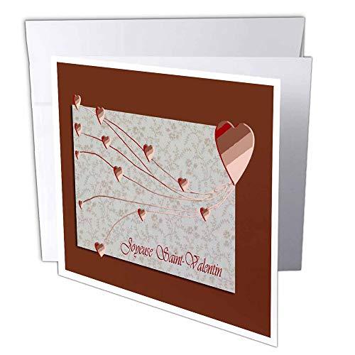 3dRose gc_37051_1 Grußkarte'Joyeuse Saint-Valentin, Happy Valentines Day in Französisch, Kupferherzen', 15,2 x 15,2 cm, 6 Stück